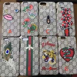 Wholesale Customize Phone Cases - Luxury brand fashion Animals Bee Snake Embroidery mobile phone case for iPhone7 6 6S 7plus hard back cover for iPhone8 8plus
