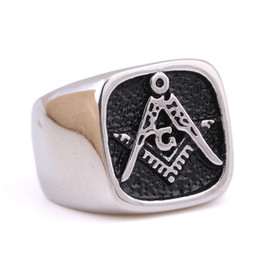 Wholesale Great Items - High polished Fine Workmanship Retro Silver Men's Stainless Steel Freemason Masonic signet ring jewelry items sales