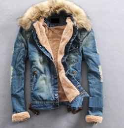 Wholesale Fur Lined Denim Jacket - 2016 new men's long sleeve thick fur collar and lining denim jacket jeans jacket lovers M-3XL