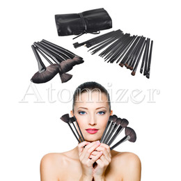 Wholesale Roll Case - 32pcs Professional Wood Makeup Brushes Set Cosmetic Makeup Brush Set Roll Up Case Eyeliner Eyeshadow Brush Makeup Tools 0605034