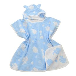 infant bathrobe towels Coupons - Wholesale- Soft Hooded baby bathrobe towel Cotton Gauze infant baby Absorbing Drying bath Towels Washcloth Infant Wrap Swaddles Gift D3
