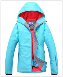 Wholesale Womens Ski Jacket Green - Gsou snow womens pure blue green rose ski jacket snowboarding jacket women skiwear waterproof 10K thermal top quality free ship