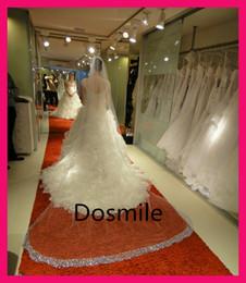 Wholesale Cathedral Mantilla - Wholesale-Cathedral Crystal Blings Sparklings Edge Long cathedral wedding veil Bridal Mantilla 3 Meters Rhinestones Free Comb
