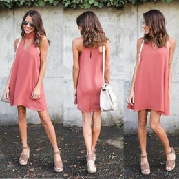 Wholesale Dresses Wholsale - New Short Women Dresses V Neck Chiffon Mini Sleeveless A Line Autumn Casual Dresses Knee Length Wholsale Plus Size