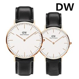 Wholesale Watch Couple Rose Gold - New Daniel watch Rose gold Fashion Leather Watches Couple Dress Women Men Watches montre femme Luxury Brand Quartz Wristwatches