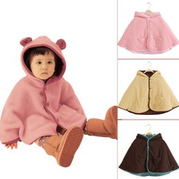 Wholesale Outerwear For Children - Winter Baby Jacket Children Ears Cloak Kids Hoodies Outerwear Girl Winter Thick Poncho 3 Color For 0~2 Years