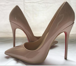 Wholesale White Patent Pumps - Women Black Sheepskin Nude Patent Leather Poined Toe Women Pumps,120mm Fashion lRed Bottom High Heels Shoes for Women Wedding shoes