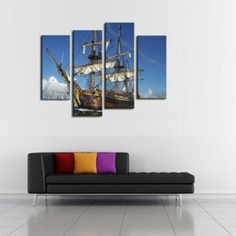 Wholesale Natural Oil Paintings Canvas - Natural Landscape Paintings Wall Art a Sailing Ship on the Sea 4 Panel Picture Print on Canvas for Modern Home Decoration