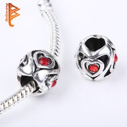 Wholesale Tibetan Silver Charm Spacer Beads - BELAWANG Heart Love Star Spacer Beads Tibetan Silver Fit Charm Bracelet Jewelry DIY Loose Beads Red Cubic Zirconia Jewelry Accessories