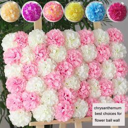 Wholesale Silk Chrysanthemum Heads - 50Pcs Lot 11Cm Chrysanthemum Ball Flower Head Artificial Silk Flower Ball Wall Wedding Party Photo Taking Background Flower