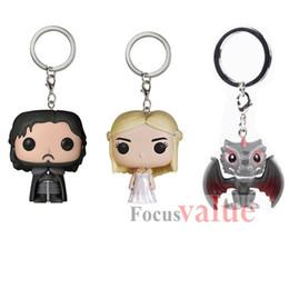 Wholesale Walking Dead Vinyl - Game of Thrones Figure toys keychain Jon Snow Daenerys Targaryen Drogon PVC Movie Vinyl head The Walking Dead Action Figure Key Ring Toys