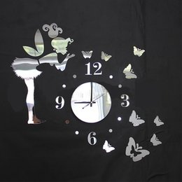 Wholesale Butterfly Sticker Set - 3D mirror wall stickers wall clock butterfly Creative Home Decor DIY Removable Decoration Sticker 2017 30pcs set wholesale Free delivery