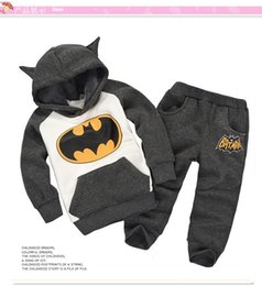 Wholesale Children Thermal Sets - fashion new boy set thermal batman Children Tracksuit kids clothing suit boys and girls hoodie and coat+trousers autumn winter