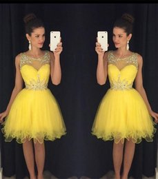 Wholesale Tea Length Yellow Beaded Dresses - 2016 New Yellow Short Homecoming Dresses Sheer Neck Beaded Crystals Tulle Mini Modest Prom vestido formatura curto Cocktail Party Gown Cheap