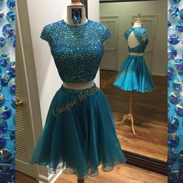 Wholesale Photo Cropping - Two Pieces Homecoming Dresses 2016 with Cap Sleeves and Backless Real Photo Crystals Beading Hunter Organza Crop Top 8th Grade Prom Gowns