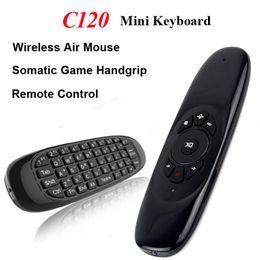 2019 usb control remoto android Mini teclado inalámbrico de control remoto C120 Air Mouse 2.4Ghz 3 ejes de giroscopio Sensor Somatic Game Handgrip para M8S MXQ CS918 Android TV Box