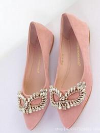 Wholesale Wholesale Western Shoes - 2016 Korean mask small tip Flats   super beautiful diamond single shoes women Western style feminine fashion shallow mouth flat shoes 34-40