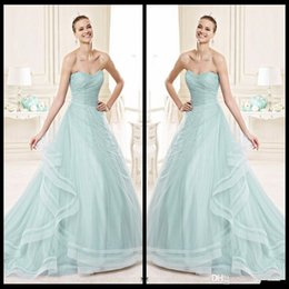 Wholesale Trendy Elegant Gowns - Elegant 2016 Bridal Collection Wedding Dresses Sweetheart Strapless Ruffles Tulle Sage Color A Line Trendy Bridal Gowns Custom Made