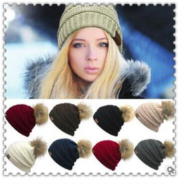 Wholesale Wholesale Golf Beanie Hats - 9 Colors CC Knitted Hats CC Trendy Winter Beanies Warm Oversized Chunky Skull Caps Soft Cable Knitted Slouchy Crochet Hats CCA7349 30pcs