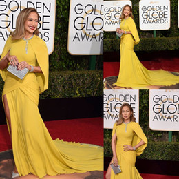 Wholesale Golden Globe Pink Dresses - 2016 73th Golden Globe Awards Celebrity Dresses Jennifer Lopez Red Carpet Dress Yellow Mermaid Ruched Long Evening Celebrity Dresses