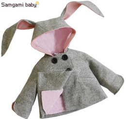 Wholesale Baby Coats Ears - New Winter Autumn INS Baby girls Rabbit coat Woolen cloth rabbit ears hoodies Double-breasted Outwear clothing baby hooded jacket 3 colors