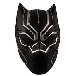 Wholesale Full Captain America Costume - Black Panther Helmet Masks Halloween Prop Costume Party Movie Cosplay Captain America Civil War T'Challa Cosplay Resin Mask Free Shipping