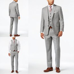 Wholesale waistcoat three button suit - Handsome Dark Grey Men Suits Three Piece With Jacket+Waistcoat+Pants Custom Made Polyester Notched Lapel Plus Size Tuxedo Wedding Suit