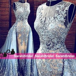 Wholesale Elie Saab Dresses Blue - Couture Zuhair Murad Elie Saab Style Evening Dresses Dusty Pale Blue Tulle Lace and Champagne Sheer See Through Celebrity Prom Gowns 2016