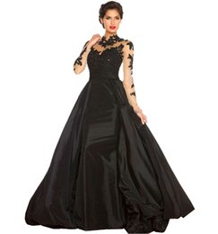 Wholesale V Com - 2018 Red Lace Women Formal Black Ball Gown Elegant Evening Dress Long Sleeve Black Vestido De Festa Longo Com Renda Amarelo
