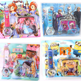 Wholesale Cheap Wallets For Kids - Violetta Sofia Minion Cartoon Watches for Kids 1pc Lots Free Shipping Children Watches with Wallet Cheap Gift Wristwatches for Boys Girls