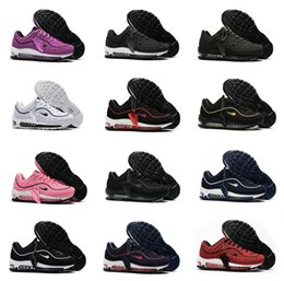 Wholesale Shoes Famous Men - 2018 Drop Shipping Cheap Famous 98 Snakeskin Navy blue Varsity Red Men Running Shoes Maxes Sneaker Trainers