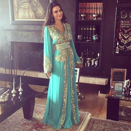 Wholesale Chiffon Kaftans - 2018 Hunter Chiffon Dubai Evening Dresses A Line Long Sleeves Gold Sequins and Beading V Neck Prom Dress Kaftans Party Gowns