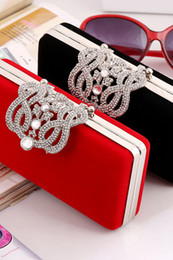 Wholesale Evening Clutch Hand Bags - Cheap In Stock Red Black Formal Evening Party Handbag Rhinestone Fashion Bridal Hand Bags Purse with Chain CPA958