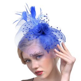 Wholesale Black Ivory Fascinator - 8 Colors Bridal Hats Feathers Elegant Hats for Women Handmade Flax Party Hair Accessories for Ladies