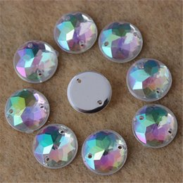 Wholesale Rhinestone Sew Hole - 12mm 200PCS AB Color Superior Taiwan Acrylic Flat Back Stones Round Circle Shape Acrylic Rhinestone Sew On 2 Hole Free shiping ZZ55