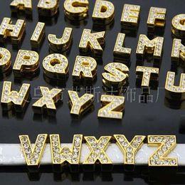 Wholesale Diy Full Rhinestone Letters - 130pieces lot Zinc Alloy fitting 8MM Full Rhinestone Slide letters A-Z diy Slide Charms for women Bracelets pet Collars