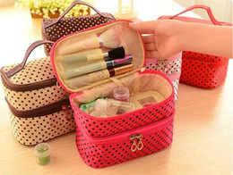 Wholesale Cheap Black Makeup Bag - Cheap Price 2016 New dot cosmetic makeup bags cases boxes cheap Womens Makeup bags large capacity portable storage travel make up bags cases