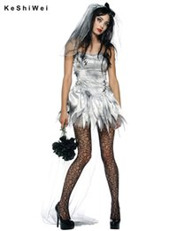 Wholesale Ghost Costume Adult - Wholesale-Sexy Gothic Manor Zombie Wedding Corpse Costume Ghost Bride Dress Adult Costume Halloween for Women Cosplay Zomy uniform