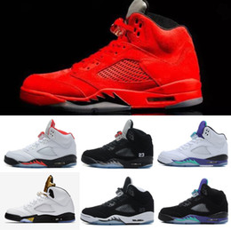 Wholesale Cheap Fashion Sneakers Men - Brand Basketball shoes 5 5s Mens Sports Olympic OG Gold Raging Blue Suede Red Suede Blakc Metallic Fashion Sneakers Cheap