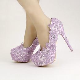 lacets en laine de lavande Promotion Lavender Bride Chaussures Plateforme talon haut Chaussures avec dentelle fleur chaussures de mariage strass Printemps Femmes Pompes pour Prom événement