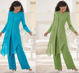 Wholesale Lace Wedding Jackets For Bride - 2017 Blue Green Chiffon Mother Of The Bride Pant Suits with Jacket mother bride pant suits 3 Pieces Trousers Jacket For Wedding Party