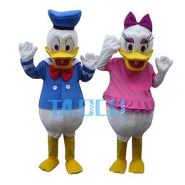 Wholesale Donald Duck Mascot Costumes - Wholesale-Best Quality Donald Duck & Daisy Duck 2 pcs Cartoon Mascot Costume Free Shipping