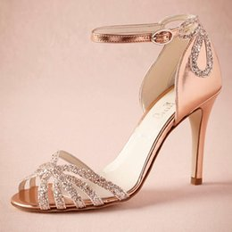 """Wholesale Wedding Shoes Roses - Rose Gold Glittered Heel Wedding Shoes Pumps Sandals Gold Leather Buckle Closure Glitter Party Dance 3.5"""" High Wrapped Heels Women Sandals"""