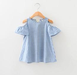 Yeni Yaz Bebek Çocuk Kız Dikey Çizgili Kısa Kollu Elbiseler Kapalı Omuz Prenses Parti Kız Pamuk Elbiseler Çocuk Giysileri 11429 nereden