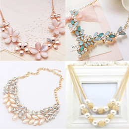 Wholesale Necklace Statement Tassel - 4 Style Statement Necklaces Crystal Chain Link Choker Tassels Necklaces For Women Gift Pearl Statement Necklaces
