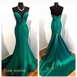Wholesale Emerald Green Sashes - Emerald Green Evening Dress Elegant Mermaid Sweetheart Satin Long Backless Women Wear Prom Night Party Gown