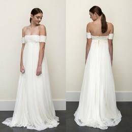 Wholesale High Waist Top Cheap - 2016 Empire Waist Beach Wedding Dress Vintage Strapless Lace Top Boho Bohemian Bridal Gowns Cheap High Quality Bride Wear with Sleeves