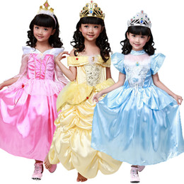 Wholesale Wholesale Beauty Beast - belle costume kids cinderella costume kids sleeping beauty dress belle princess dress cosplay costumes belle beauty and the beast dress
