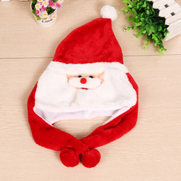 Wholesale Plush Costumes For Adults - Christmas Hat Adult Christmas Party Cap Red Plush Hat For Santa Claus Costume Christmas Decoration gift