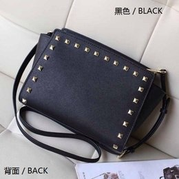Wholesale handbag models - Free shipping 2016 star models with cross pattern PU leather handbags and small rivet smiley bat bag shoulder bag Messenger bag